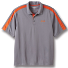 Gray and Orange Color Block Polo