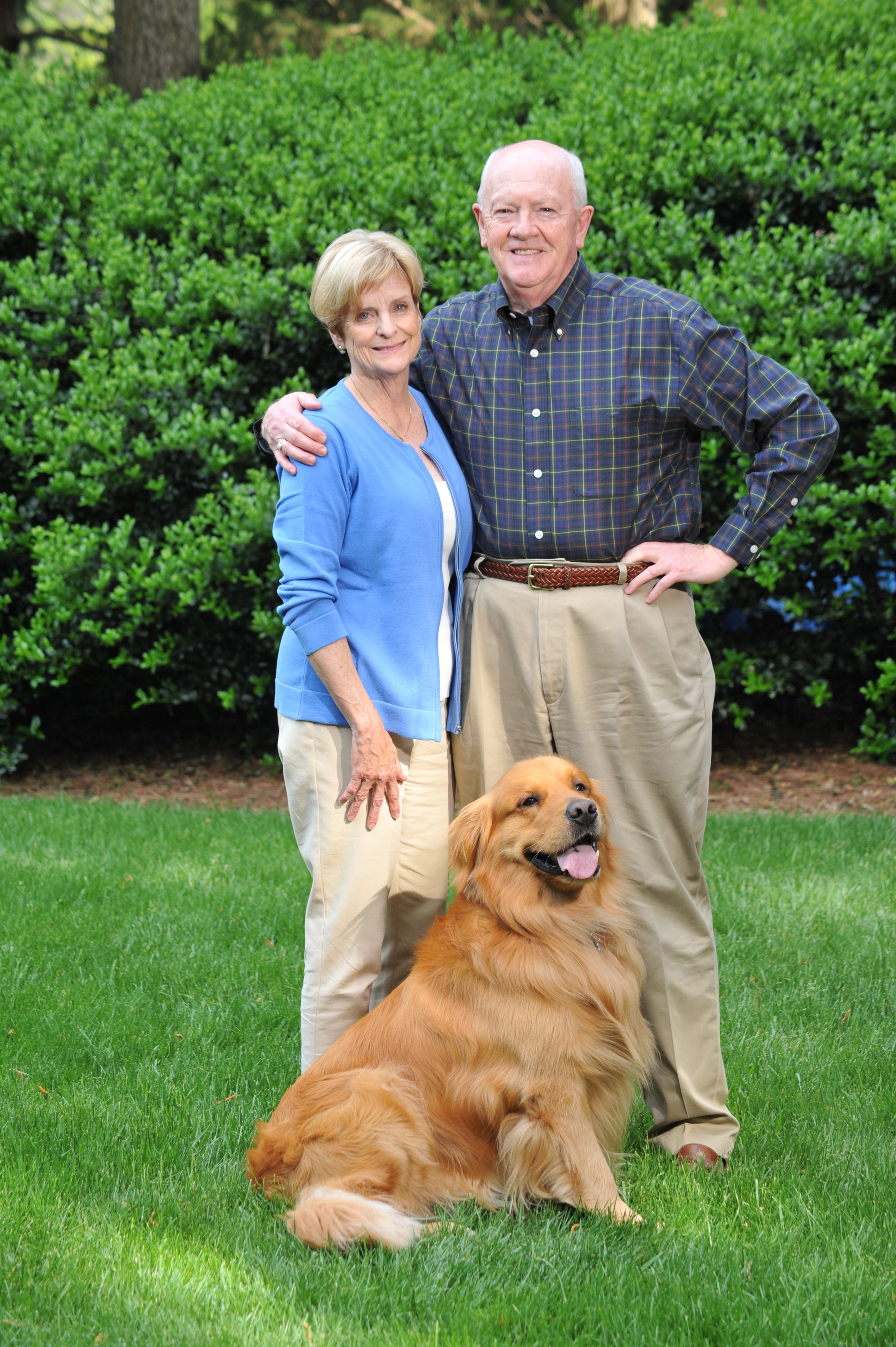 Fred and Karen Whyte pictured with their golden retriever, Keeper.