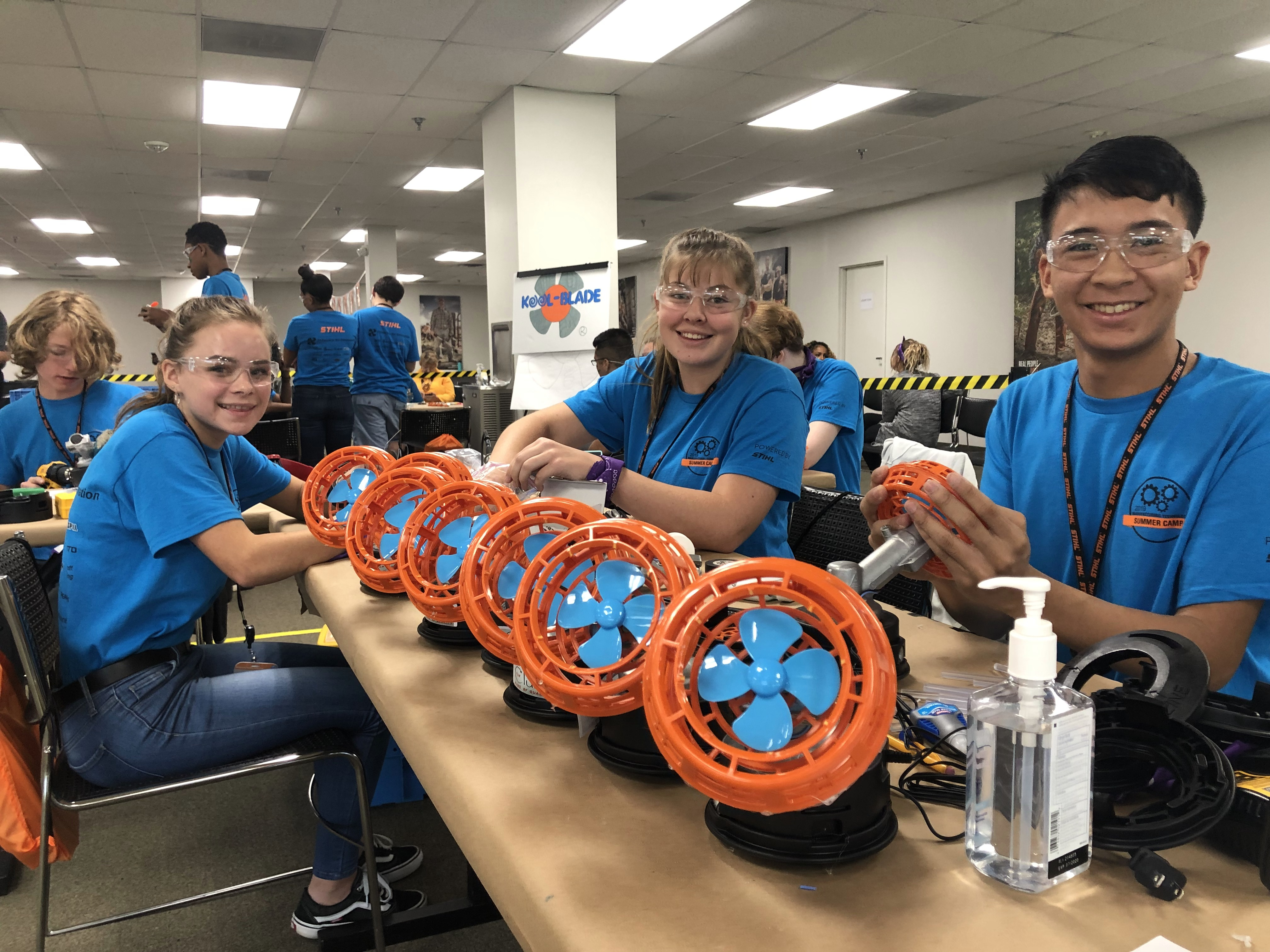 Students manufactured fans from STIHL equipment components