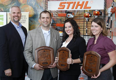 The three runners-up in the Discussion Meet, Jacob Andersen, Chelsea Good and Katie Pratt received prizes including a $5,000 Savings Bond and a STIHL Farm Boss, from Roger Phelps of STIHL.