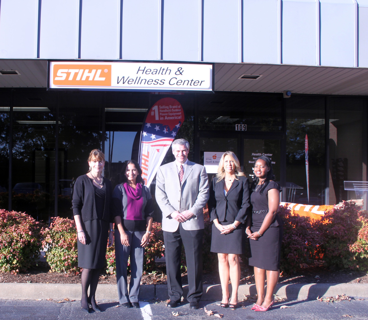 QuadMed's STIHL Health and Wellness Center staff: Suzanne Robinson, family nurse practitioner; Dr. Alpa Donato; Dr. Michael Simpson; Jennifer Reardon, receptionist/medical assistant; Gloria Fernandez,
