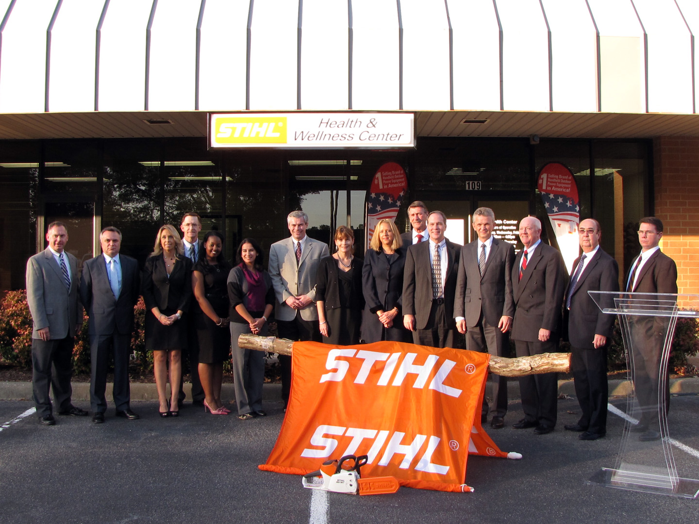 STIHL Executive Council, QuadMed Staff and Dr. Bertram Kandziora executive board chairman for the worldwide STIHL Group at the opening of the STIHL Health and Wellness Center