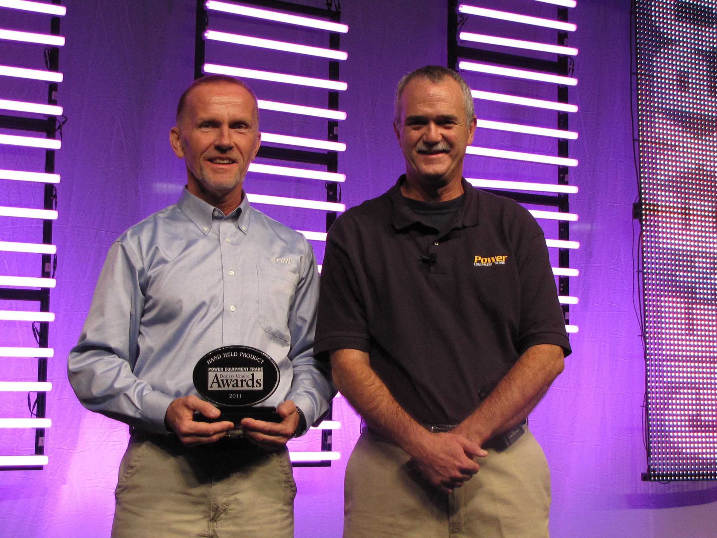 Marv Mathwig, product manager for STIHL Inc. and Dan Shell of Power Equipment Trade