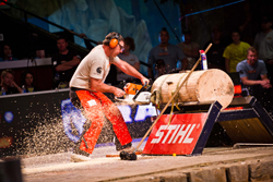 Paul Cogar competes in the stock saw at the 2012 STIHL TIMBERSPORTS Series U.S. Championship.