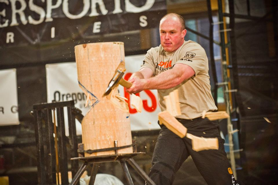 Branden Sirguy competes in standing block chop at the 2012 Western Qualifier