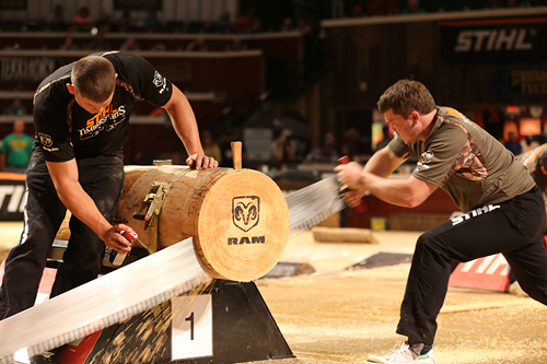 Matt Cogar saws through the single buck at the 2013 STIHL® TIMBERSPORTS® U.S. Championship